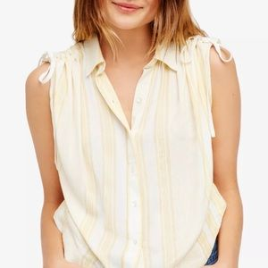 Free People Striped Yellow Button Down Shirt